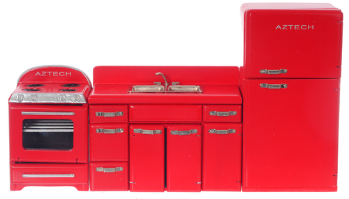 1950s Appliance Set - Red - 3pc