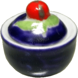 Ceramic Bowl w/ Fruit Handle & Removable Lid