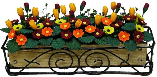 Autumn Flowers in Scroll WI Box Planter