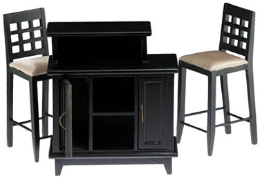 Black Bar w/ 2 Tall Chairs