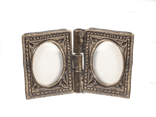Folding Double Antique Brass Frame 2pc