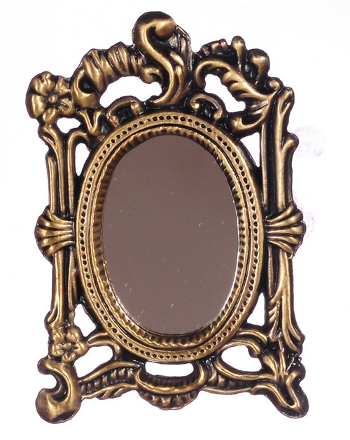 Antique Rubbed Brass Wall Mirror
