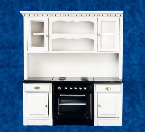 Kitchen Stove Counter Top & Cabinets Unit - White