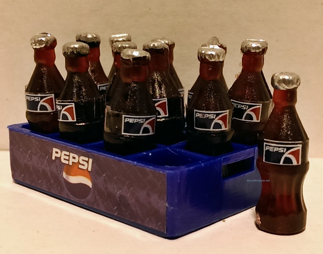 12 Miniature Pepsi Bottles in a Pepsi Crate