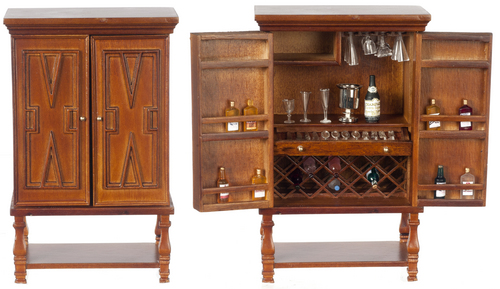 Chateauroux Bar Cabinet w/ Drawers & Accessories - Walnut